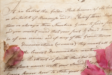 page from 18th century copy book in old script handwriting with bougainvillea flowers