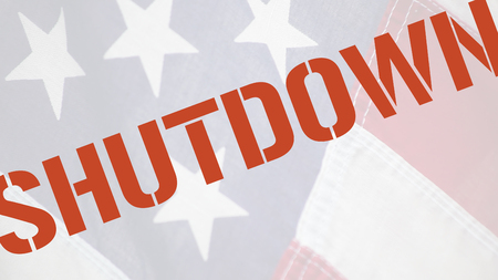 current events: American flag with the word shutdown in red type