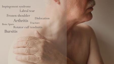 luxacion: el hombre con la mano en el hombro con palabras de enfermedades de las articulaciones Foto de archivo