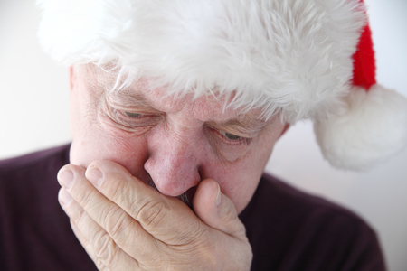 front view of mature man feeling ill