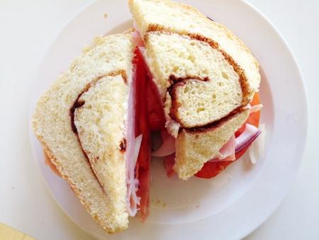 closeup: Ham sandwich on cinnamon bread Stock Photo