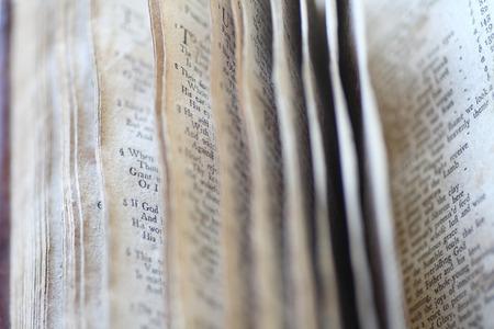 Closeup view of vintage religious book