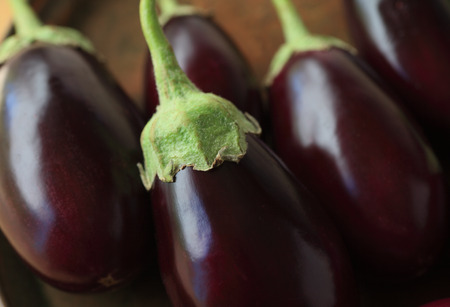 grouping: A grouping of fresh eggplants close up Stock Photo