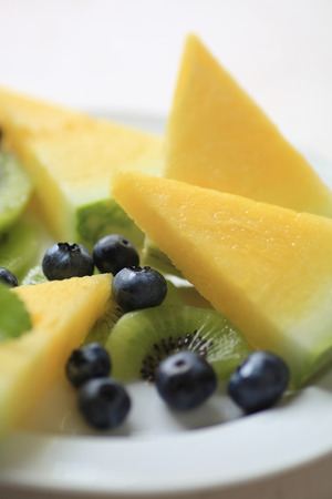 kiwi fruta: Juicy watermelon wedges with fresh blueberries and kiwifruit on a white plate closeup