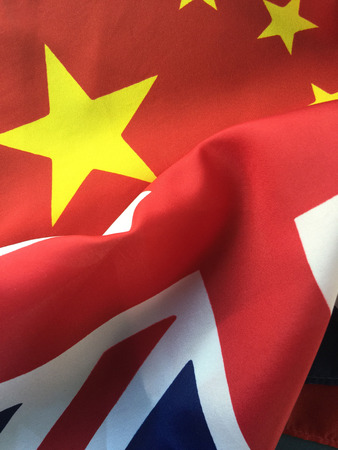 Flags of China and Great Britain Reklamní fotografie