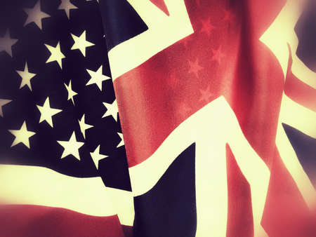 great britain: Flags of Great Britain and the United States