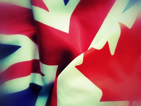 British and Canadian flags juxtaposed, filters applied