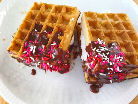 chocolate treats: Cold treats made with waffles, ice cream, chocolate and sprinkles Stock Photo