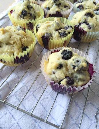 sweet treats: Homemade fruit muffins on a rack over a dish towel