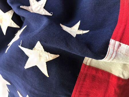 batallón: Closeup of flag that was carried into battle Foto de archivo