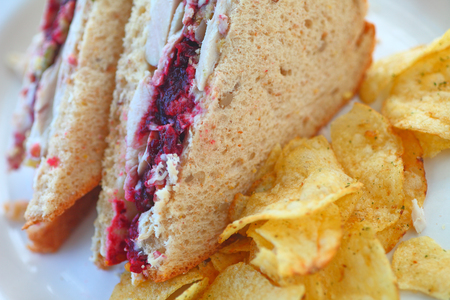 Turkey sandwich cut in half with stuffing-flavored potato chips