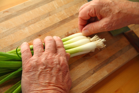 Senior man with fresh scallions and room for text