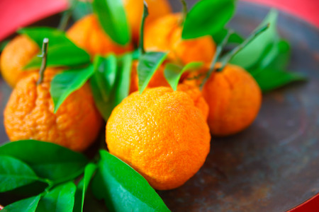 Fresh tangerines with room for text