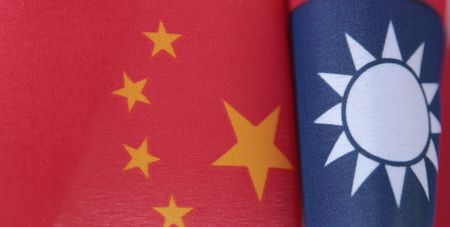 curving flags of Taiwan and China