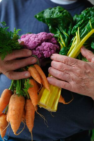 Older man with an armful of fresh Swiss chard, carrots and cauliflower from a farmers market