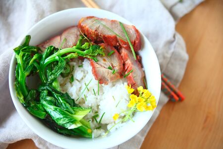 Roast pork and Asian greens on rice with copy space