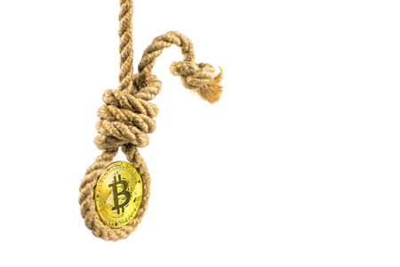 Death bitcoin. Coin bitcoin in the gallows on a white background. Isolated. Stock Photo