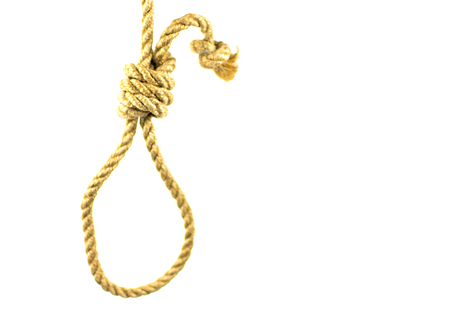Rope for the gallows on a white background. Isolated. Stock Photo
