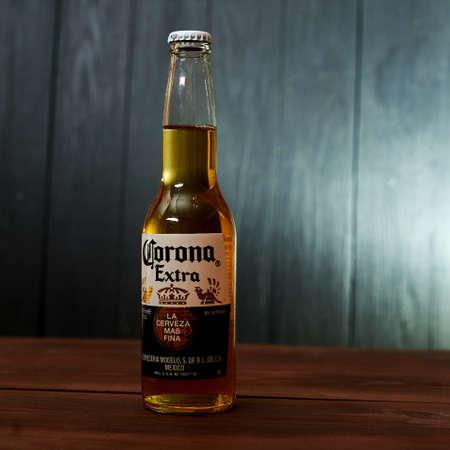 Kiev, Ukraine- February 02, 2020: A bottle of beer Corona on a dark background.