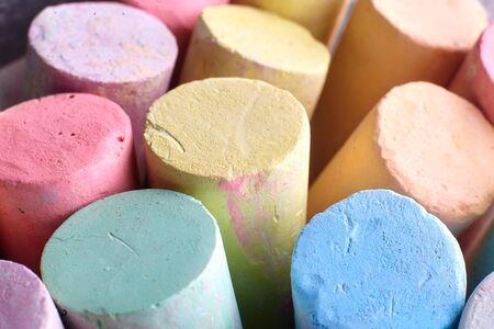 Multi-colored chalk closeup. Children's creativity, entertainment concept.