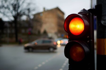 Traffic light red on a city street. Archivio Fotografico