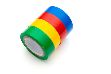Insulating tape of different colors on a white background. Isolated.