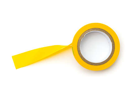 Insulating tape in yellow on a white background. Isolated.
