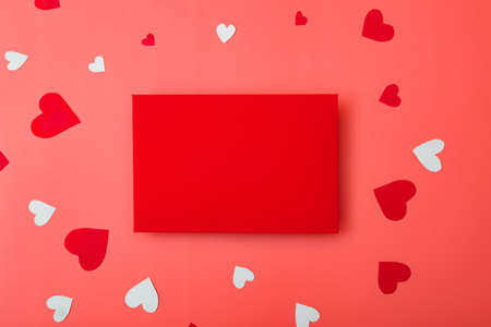 Red envelope and hearts. Love letter for valentine's day concept. Place for your text.