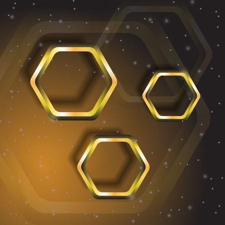 patch of light: poligoni oro su sfondo marrone Vettoriali