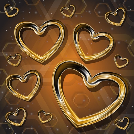 patch of light: hearts of gold on a brown background Illustration