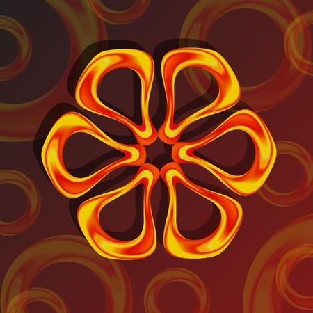 claret: gold flower on a claret background Illustration