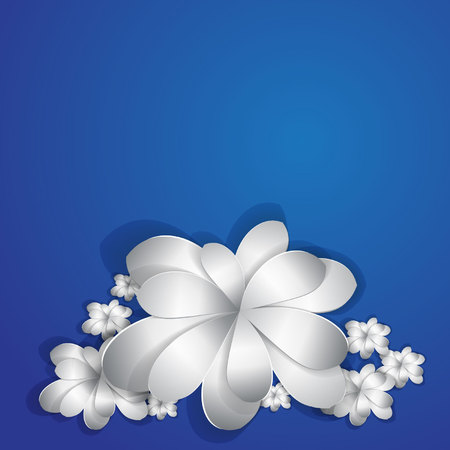 prompt: paper flowers on blue a background Illustration