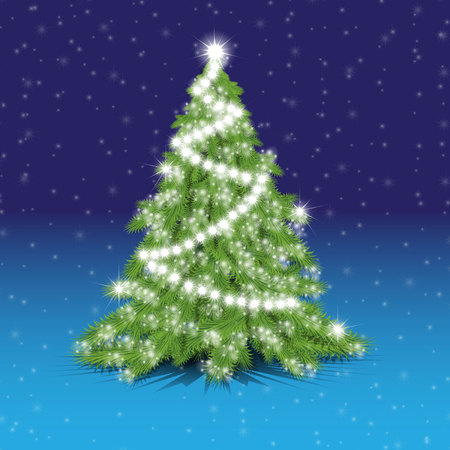 prompt: Christmas tree, new year, Christmas, fir-tree, shadow, light, needle, prompt, background, holiday Illustration