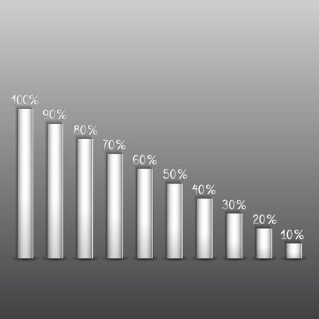 shares of percent on paper columns on a gray background Иллюстрация
