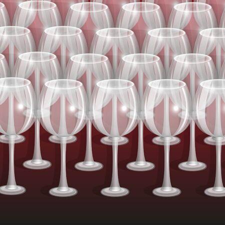 patch of light: bicchieri vuoti per il vino su uno sfondo claret Vettoriali