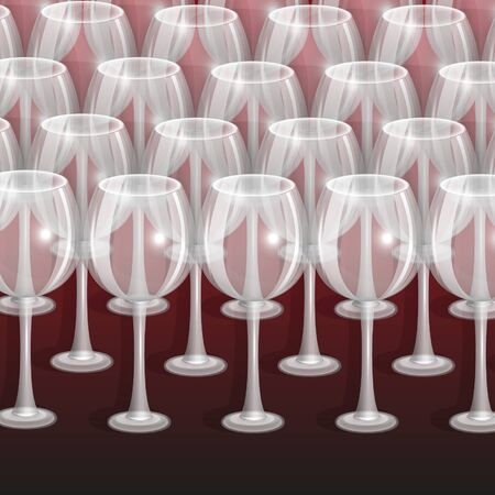 patch of light: empty glasses for wine on a claret background