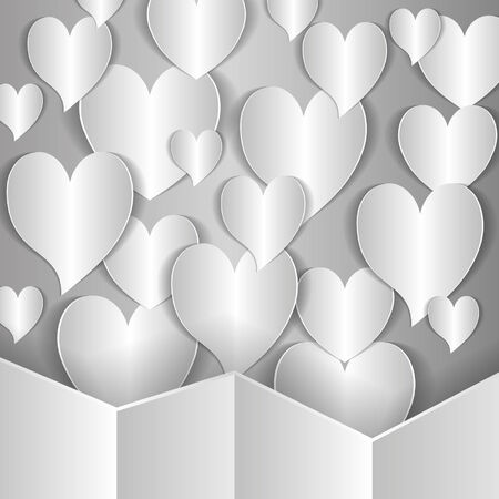 patch of light: it is a lot of paper hearts on a gray background