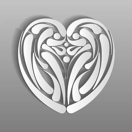 paper heart on a gray background Illusztráció