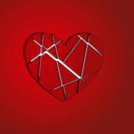 splinters: the heart broken into splinters on a red background