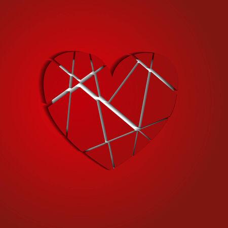 splinters: heart splinters on a red background Illustration