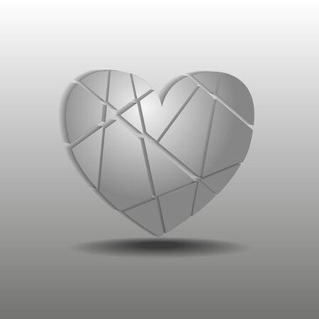 splinter: splinters of gray heart on a gray background