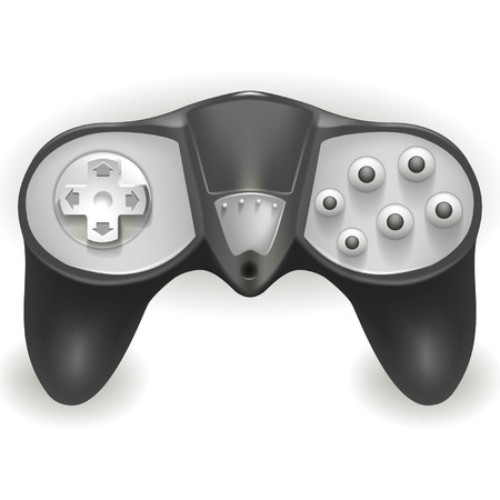patch of light: the gray joystick for game on a white background Illustration