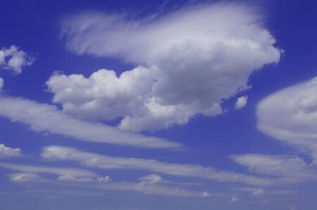 float cloud: different white clouds on a blue background Stock Photo