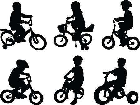 children riding bicycle - vector