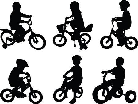 ni�os en bicicleta: los ni�os montar en bicicleta - vector