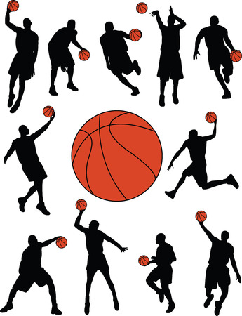basketball players silhouettes - vector Vector
