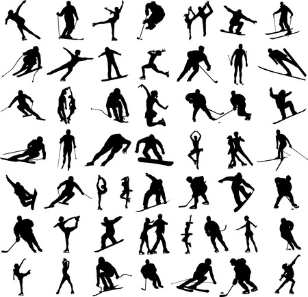 figure skater: big collection of winter sports silhouettes - vector