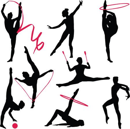 gymnasts: rhythmic gymnastic - vector Illustration