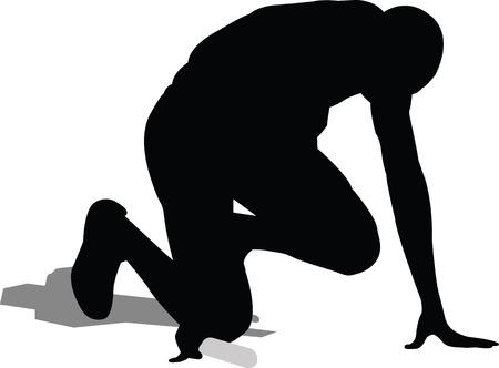 estafette stokje: relais runner in start positie - vector Stock Illustratie