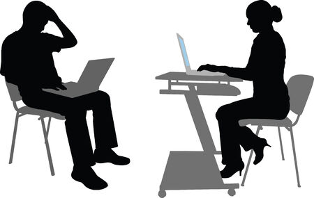 sit: business man and woman silhouettes- vector Illustration